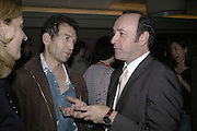 Greg Hix and Kevin Spacey, The 25th hour post party at the Plaza on the River, 18 Albert Embankment. Culmination of the 24 Hour Plays Celebrity Gala at the Old Vic.London. 8 October 2006.  -DO NOT ARCHIVE-© Copyright Photograph by Dafydd Jones 66 Stockwell Park Rd. London SW9 0DA Tel 020 7733 0108 www.dafjones.com
