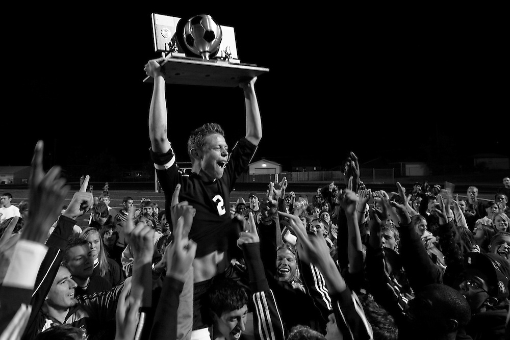 Smoky Hill High School senior Westley Post (2) celebrates the Buffaloes 3-1 convincing victory over top-seeded Grandview in the Colorado Class 5A State Soccer Championship at Englewood's Pirate Field in Englewood, Colo., on Nov. 7, 2007. The Buffs are the first team to win back-to-back championships since Arapahoe in 1993 and 1994. The win gave fourth year head coach Danny Windsor his third championship in four consecutive appearances in the finals.
