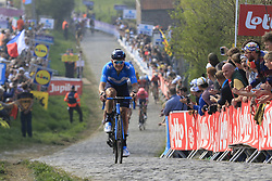 Jasha Sutterlin (GER) Movistar Team climbs the Paterberg for the last time during the 2019 Ronde Van Vlaanderen 270km from Antwerp to Oudenaarde, Belgium. 7th April 2019.<br /> Picture: Eoin Clarke | Cyclefile<br /> <br /> All photos usage must carry mandatory copyright credit (© Cyclefile | Eoin Clarke)