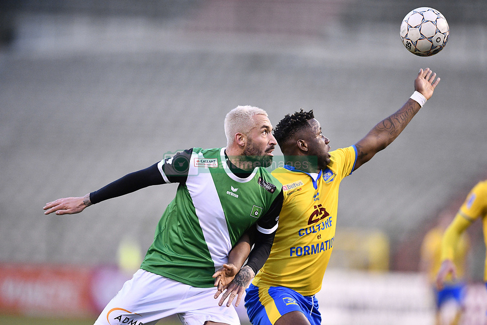 February 17, 2018 - Brussels, BELGIUM - Cercle's Jeremy Taravel and Union's Nathan Kabasele fight for the ball during a soccer game between Union Saint-Gilloise and Cercle Brugge, in Brussels, Saturday 17 February 2018, on day 27 of the division 1B Proximus League competition of the Belgian soccer championship. BELGA PHOTO YORICK JANSENS (Credit Image: © Yorick Jansens/Belga via ZUMA Press)