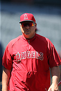 ANAHEIM, CA - APRIL 30:  Mike Scioscia #14 of the Los Angeles Angels of Anaheim looks on during batting practice before the game against the Cleveland Indians at Angel Stadium on Wednesday, April 30, 2014 in Anaheim, California. The Angels won the game 7-1. (Photo by Paul Spinelli/MLB Photos via Getty Images) *** Local Caption *** Mike Scioscia