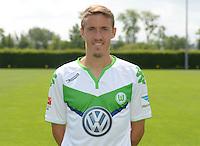 German Soccer Bundesliga 2015/16 - Photocall of VfL Wolfsburg on 16 July 2015 at the Volkswagen-Arena in Wolfsburg, Germany: Max Kruse