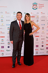 LIVERPOOL, ENGLAND - Tuesday, May 9, 2017: Liverpool TV presenters Peter McDowell and Claire Rourke on the red carpet for the Liverpool FC Players' Awards 2017 at Anfield. (Pic by David Rawcliffe/Propaganda)