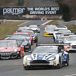 Race 1 - At the Avon Tyres British GT Championship held at Oulton Park, Cheshire, UK..The Beechdean AMR, Andrew Howard & Jonny Adam, Aston Martin Vantage GT3, GT3 heading this pack..1st April 2013 WAYNE NEAL | STOCKPIX.EU