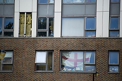© Licensed to London News Pictures. 22/06/2017. London, UK. A section of cladding removed by workmen from the Dorney building on the Chalcot Estate in north London as part of an investigation in to fire safety at tower blocks. Prime Minister Theresa May has told Parliament that up to 600 high rise tower blocks may have similar cladding to that found in Grenfell Tower, which went on fire last week, in which as many as 79 residents are thought to have perished. Photo credit: Ben Cawthra/LNP
