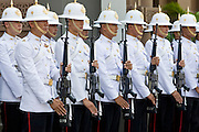 29 FEBRUARY 2008 -- BANGKOK, THAILAND:  Members of the Royal Guard march at the Grand Palace during the Lying in State Ceremony for Princess Galyani Vadhana, the elder sister of Thailand's King Bhumibol Adulyadej. The Princess died Wednesday, Jan 2, 2008. She will be cremated following a 100 day period. The Grand Palace complex was established in 1782 and houses the royal residence and throne halls, some government offices and the Temple of the Emerald Buddha, the most revered Buddhist temple in Thailand.   Photo by Jack Kurtz/ZUMA Press