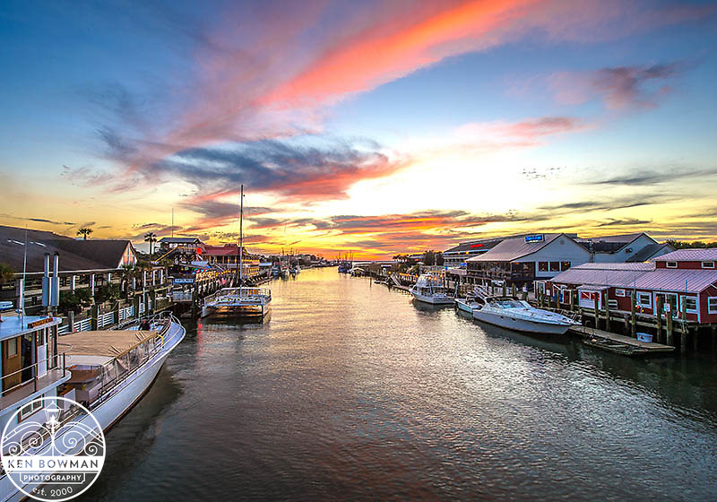 Shem Creek sunset from the Colemam Bridge.