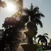 Water fountain in the city plaza of Santa María del Tule, Mexico