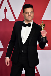 Rami Malek in the press room at the 91st Academy Awards held at the Dolby Theatre in Hollywood, Los Angeles, USA.