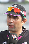 Faisalabad Wolves captain Misbah-Ul-Haq during the Qualifier 5 match of the Karbonn Smart Champions League T20 (CLT20) between Faisalabad Wolves and the Kandurata Maroons held at the Punjab Cricket Association Stadium, Mohali on the 20th September 2013<br /> <br /> Photo by Shaun Roy/CLT20/SPORTZPICS<br /> <br /> <br /> Use of this image is subject to the terms and conditions as outlined by the CLT20. These terms can be found by following this link:<br /> <br /> http://sportzpics.photoshelter.com/image/I0000NmDchxxGVv4<br /> <br /> ENTER YOUR EMAIL ADDRESS TO DOWNLOAD