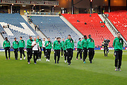 Celtic get an early look at the pitch for the Betfred Scottish Cup  Final match between Aberdeen and Celtic at Hampden Park, Glasgow, United Kingdom on 27 November 2016. Photo by Craig Galloway.