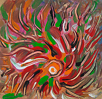 Flaming vortex like abstract image with converging lines of fluid colors in tones of orange, red, pink, green, brown, black and white colors.