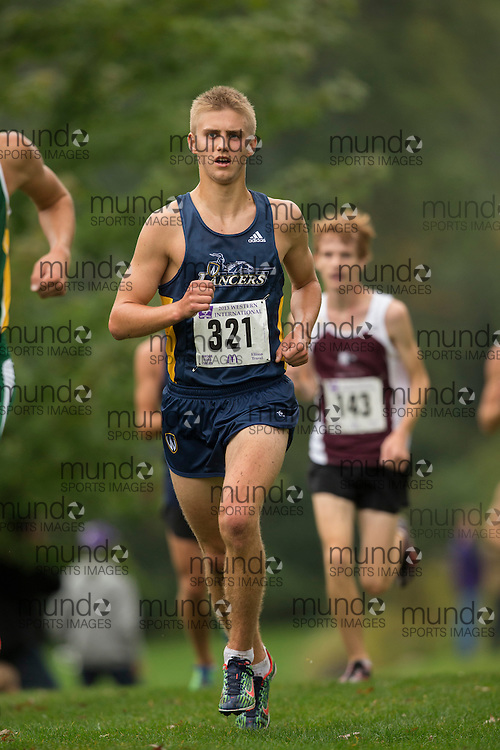 Nick MacMackin of the Windsor Lancers runs in the men's 8K Run at the 2013 Western International Cross country meet in London Ontario, Saturday,  September 21, 2013.<br /> Mundo Sport Images/ Geoff Robins
