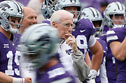 Kansas State head coach Bill Snyder watches his team warm up before a college football game against Texas in Manhattan, Kan., Saturday, Sept. 29, 2018. (AP Photo/Colin E. Braley)