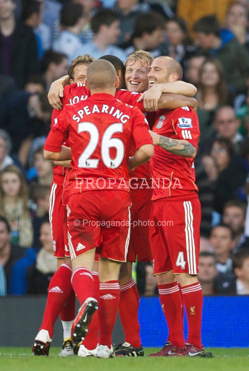 LONDON, ENGLAND - Monday, May 9, 2011: Liverpool's Dirk Kuyt celebrates scoring the third goal against Fulham during the Premiership match at Craven Cottage. (Photo by David Rawcliffe/Propaganda)