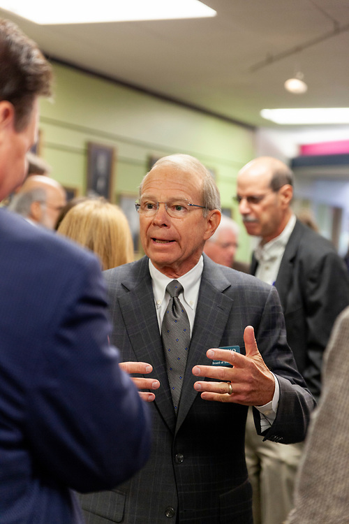 David Pidwell, national trustee, greets invited guests and students before the grand opening and ribbon cutting for the new CoLab, Ohio University's hub of innovation and entrepreneurial activities, on the third floor of the Vernon Alden Library, October 18, 2018. (Photo by Stephen Zenner/Ohio University Libraries)