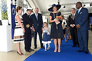 Koningin Maxima doopt het cruiseschip ms Koningsdam van Holland America Line in Rotterdam.<br /> <br /> Queen Maxima at the cruise ship ms Koningsdam Holland America Line in Rotterdanm for namen the ship.<br /> <br /> op de foto / On the photo:  Koningin Maxima met kapitein de Vries, zijn vrouw en dochter //// Queen Maxima with Captain de Vries, his wife and daughter.