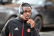 Sunderland forward Joel Asoro (29) arrives at the City Ground wearing Beats Headphones during the EFL Sky Bet Championship match between Nottingham Forest and Sunderland at the City Ground, Nottingham, England on 30 December 2017. Photo by Jon Hobley.