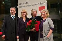 26 NOV 2012, BERLIN/GERMANY:<br /> Matthias Platzeck, SPD, Ministerpraesident Brandenburg, Manulea Schwesig, SPD, Stellv. Parteivorsitzende und Sozialministerin Mecklenburg-Vorpommern, Andreas Dresen,  Filmregisseur und Preistraeger, und Regine Sylvester, Journalistin und Autorin, (v.L.n.R.), Preisverleihung Regine-Hildebrandt-Preis 2012, WIlly-Brandt-Haus<br /> IMAGE: 20121126-01-074