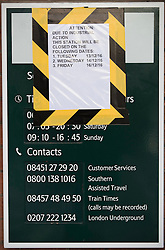 © Licensed to London News Pictures. 14/12/2016. London, UK. A poster at Selhurst  informs passengers of the closure of the station. Hundreds of thousands of rail passengers face a second day of a 3 day rail strike in an escalating dispute over the role of conductors and drivers. Photo credit: Peter Macdiarmid/LNP