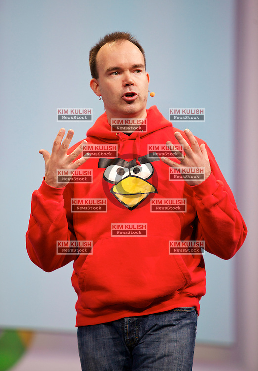 Peter Vesterbacka, chief executive officer of Rovio Mobile Ltd. and most notably the creator of the 'Angry Birds' game, speaks during a keynote address at the Google I/O conference in San Francisco, California.