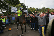 Sheffield Wednesday fans taunt Sheffield United fans before the EFL Sky Bet Championship match between Sheffield Wednesday and Sheffield Utd at Hillsborough, Sheffield, England on 24 September 2017. Photo by Phil Duncan.