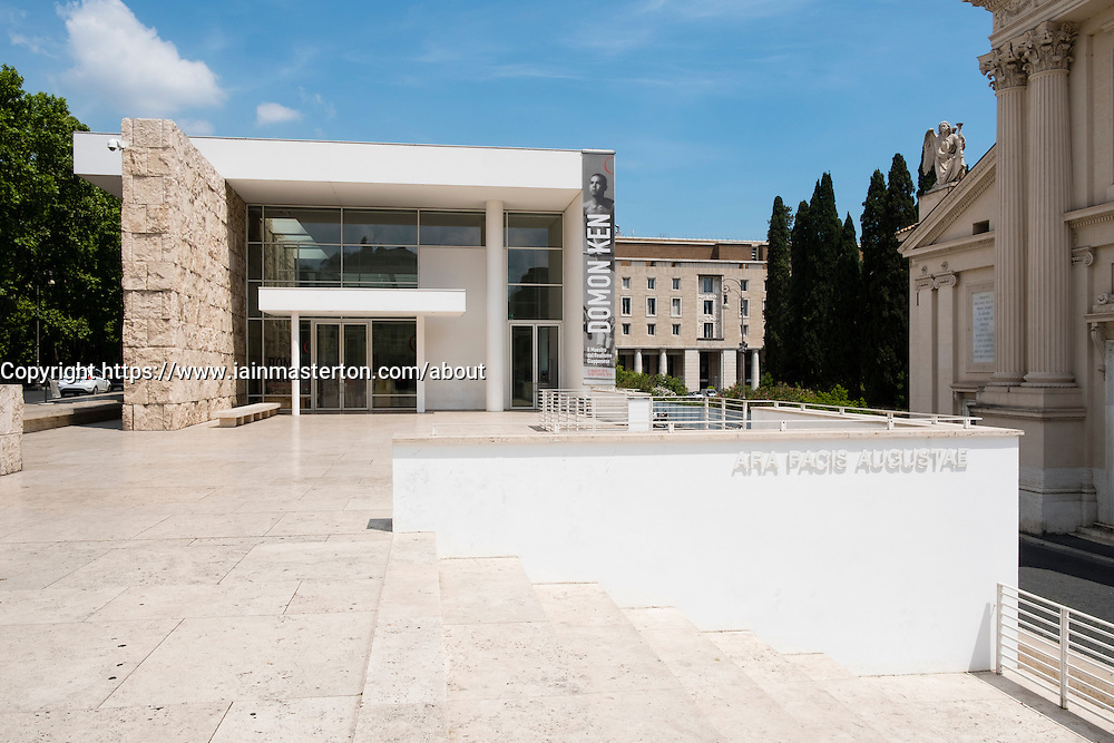 Exterior of the Museum of the Ara Pacis (Museo dell'Ara Pacis) housing Ara Pacis monument  in Rome, Italy