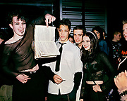 Marilyn Manson fans burning a bible, London, 2001.