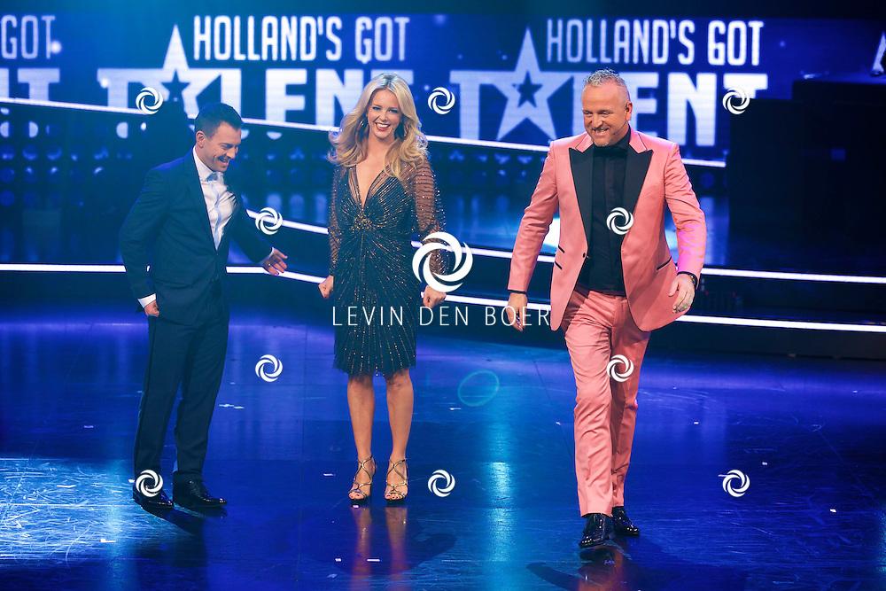 HILVERSUM - In Studio 24 zijn de finales van Holland's Got Talent 2014. Met hier op de foto  de juryleden Dan Karaty, Chantal Janzen en Gordon. FOTO LEVIN DEN BOER - PERSFOTO.NU