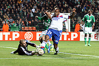 FOOTBALL - FRENCH LEAGUE CUP 2011/2012 - 1/8 FINAL - AS SAINT ETIENNE v OLYMPIQUE LYONNAIS - 26/10/2011 - PHOTO EDDY LEMAISTRE / DPPI - JIMMY BRIAND (OL) AND STEPHANE RUFFIER (ASSE)