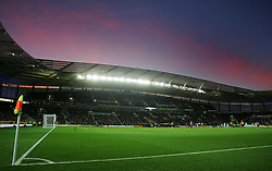 The sun sets over the KC Stadium, home of Hull City