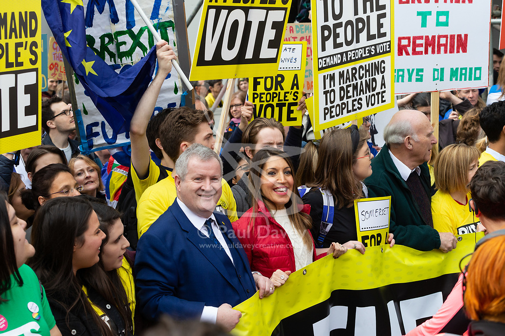 Lib-Dem Leader Vince Cable, right, leads tens of thousands of people from across the UK as they march from Park Lane to Parliament demanding a People's Vote on the EU withdrawal agreement before the UK leaves the EU. London, March 23 2019