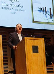 Sir Mark Elder thanks the public after receiving the Choral award..HallÈ Orchestra, Choir & youth Chorus/Mark Elder. Elgar: The Apostles (HallÈ), London, UK, April 9, 2013. Photo by Daniel Leal-Olivas / i-Images.