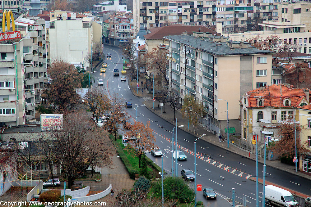 View over road traffic in the historic centre of Plovdiv, Bulgaria