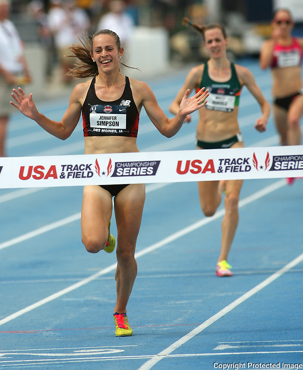 SIMPSON - 13USA, Des Moines, Ia. - Jenny Simpson wins the 5,000. Photo by David Peterson