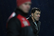 Chesterfield FC manager Dean Saunders looks on as his side loses 0-4 during the Sky Bet League 1 match between Chesterfield and Swindon Town at the Proact stadium, Chesterfield, England on 28 November 2015. Photo by Aaron Lupton.
