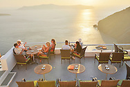 Restaurant sun deck in thira,Santorini, Kyclades,South Aegean, Greece,Europe