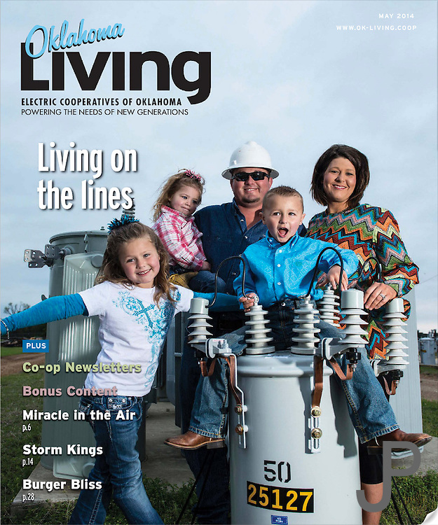 Clint Ingram and his family, a linemen for Choctaw Electric Utility, on the cover for the May 2014 issue of Oklahoma Living Magazine.
