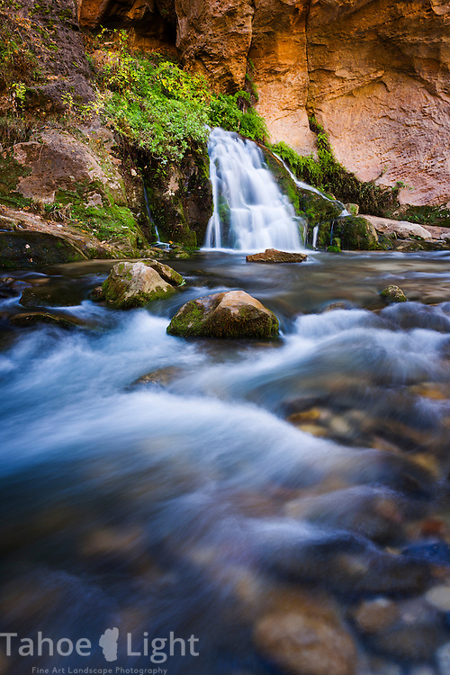 Big Falls, the normal turn-around point on the Zion Narrows water hike along Virgin River