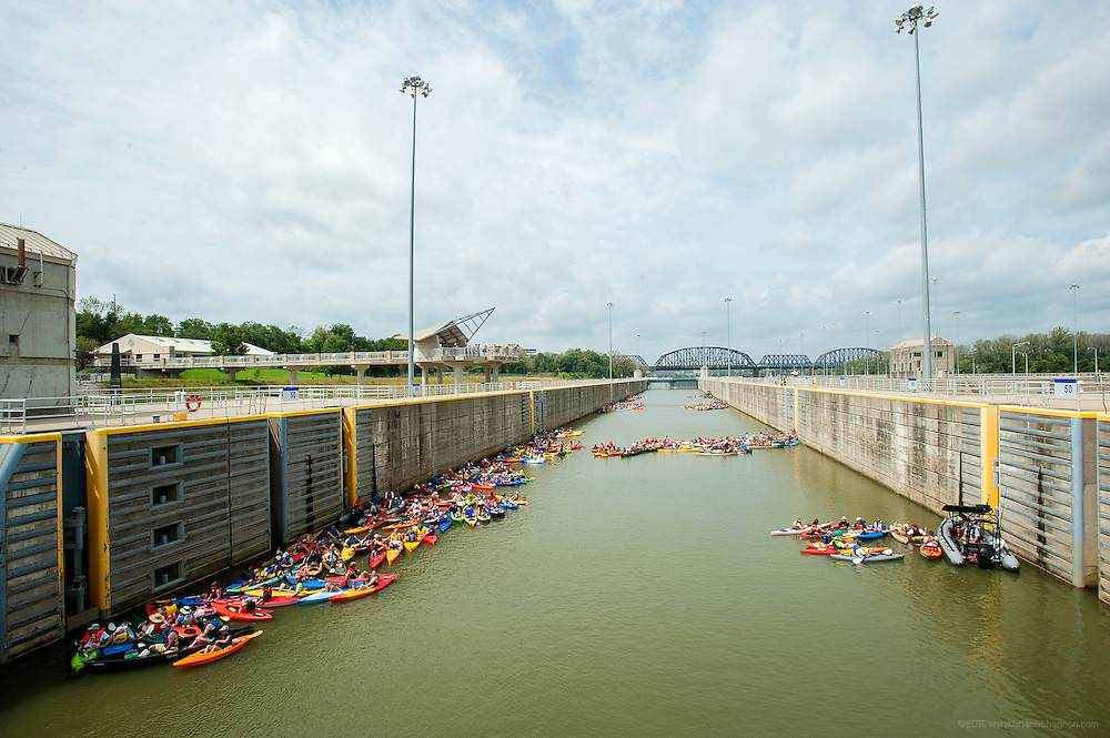 Over 600 paddlers wait to pass through the McAlpine Locks as they make their way to New Albany as part of the Mayor's Hike Bike & Paddle event at Waterfront Park. September 1, 2014