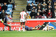 Kane Linnett (4 North Queensland Cowboys) goes over to score and open the scoring for Scotland with the first try during the Ladbrokes Four Nations match between England and Scotland at the Ricoh Arena, Coventry, England on 5 November 2016. Photo by Craig Galloway.