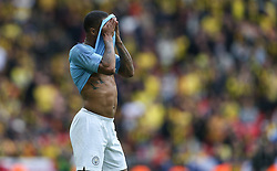 Raheem Sterling of Manchester City with his shirt over his head - Mandatory by-line: Arron Gent/JMP - 18/05/2019 - FOOTBALL - Wembley Stadium - London, England - Manchester City v Watford - Emirates FA Cup Final