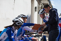 Shara Gillow (AUS) and Rozanne Slik (NED) of FDJ Nouvelle Aquitaine Futuroscope Team discuss the tactics for the final few kilometres of Stage 1 of the Setmana Cicilsta Valenciana - a 118 km road race, between Rotova and Gandia on February 22, 2018, in Valencia, Spain. (Photo by Balint Hamvas/Velofocus.com)