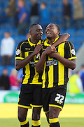 Celebrations as Burton Albion defender Jerome Binnom-Williams comes on to score the winning goal during the Sky Bet League 1 match between Chesterfield and Burton Albion at the Proact stadium, Chesterfield, England on 26 September 2015. Photo by Aaron Lupton.