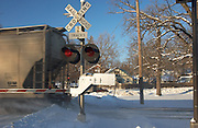 Ames,Iowa,USA Snowy and cold,crisp and clear with blue sky,trains moving