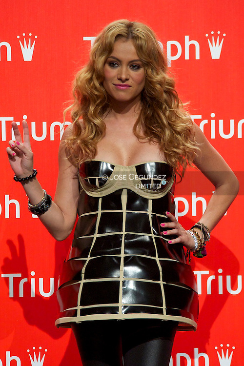 Mexican singer Paulina Rubio, a few weeks pregnant, attends Triumph lingerie contest 2010 at Canal Teather in Madrid