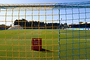 Blue and yellow net and pitch at Kingsmeadow/ Cherry Red Records Stadium during the EFL Sky Bet League 1 match between AFC Wimbledon and Bristol Rovers at the Cherry Red Records Stadium, Kingston, England on 21 September 2019.