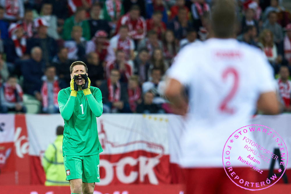 Goalkeeper Wojciech Szczesny from Poland shouts during international friendly soccer match between Poland and Greece at PGE Arena Stadium on June 16, 2015 in Gdansk, Poland.<br /> Poland, Gdansk, June 16, 2015<br /> <br /> Picture also available in RAW (NEF) or TIFF format on special request.<br /> <br /> For editorial use only. Any commercial or promotional use requires permission.<br /> <br /> Adam Nurkiewicz declares that he has no rights to the image of people at the photographs of his authorship.<br /> <br /> Mandatory credit:<br /> Photo by &copy; Adam Nurkiewicz / Mediasport