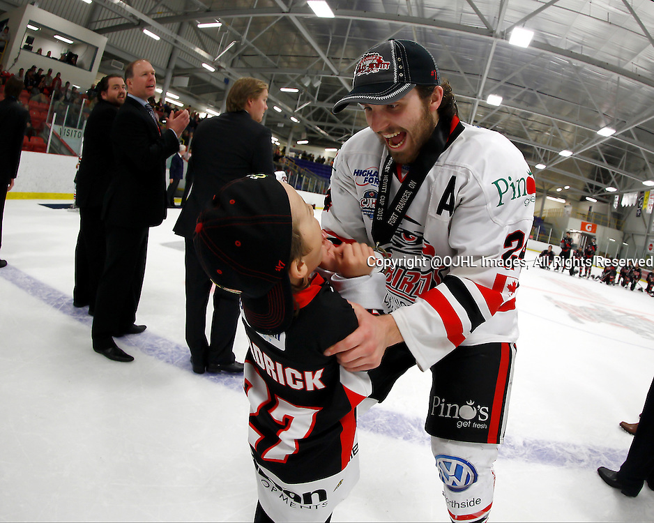 FORT FRANCES, ON - May 2, 2015 : Central Canadian Junior &quot;A&quot; Championship, game action between the Fort Frances Lakers and the Soo Thunderbirds, Championship Game of the Dudley Hewitt Cup. David Radke #24 of the Soo Thunderbirds celebrates the Dudley Hewitt win.<br /> (Photo by Brian Watts / OJHL Images)