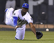 May 12, 2017 - Kansas City, MO, USA - Kansas City Royals right fielder Jorge Soler misses a triple hit by Baltimore Orioles' Caleb Joseph in the ninth inning on Friday, May 12, 2017 at Kauffman Stadium in Kansas City, Mo. (Credit Image: © John Sleezer/TNS via ZUMA Wire)